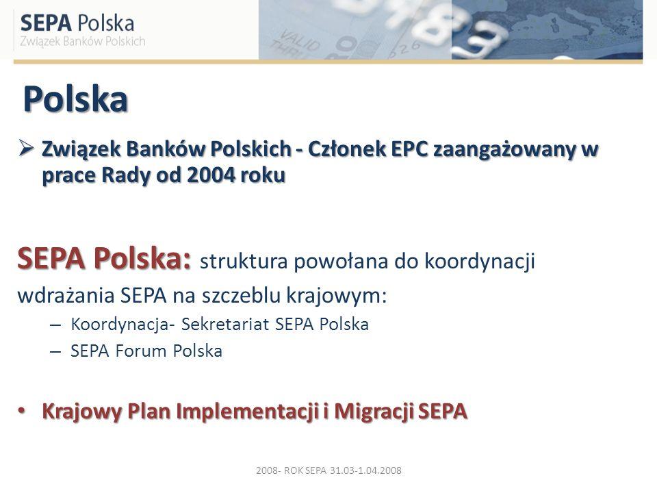 Polska Związek Banków Polskich - Członek EPC zaangażowany w prace Rady od 2004 roku Związek Banków Polskich - Członek EPC zaangażowany w prace Rady od