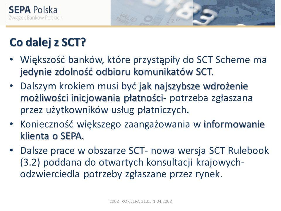 Co dalej z SCT? jedynie zdolność odbioru komunikatów SCT. Większość banków, które przystąpiły do SCT Scheme ma jedynie zdolność odbioru komunikatów SC