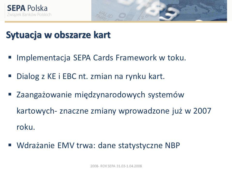 Sytuacja w obszarze kart Implementacja SEPA Cards Framework w toku. Dialog z KE i EBC nt. zmian na rynku kart. Zaangażowanie międzynarodowych systemów