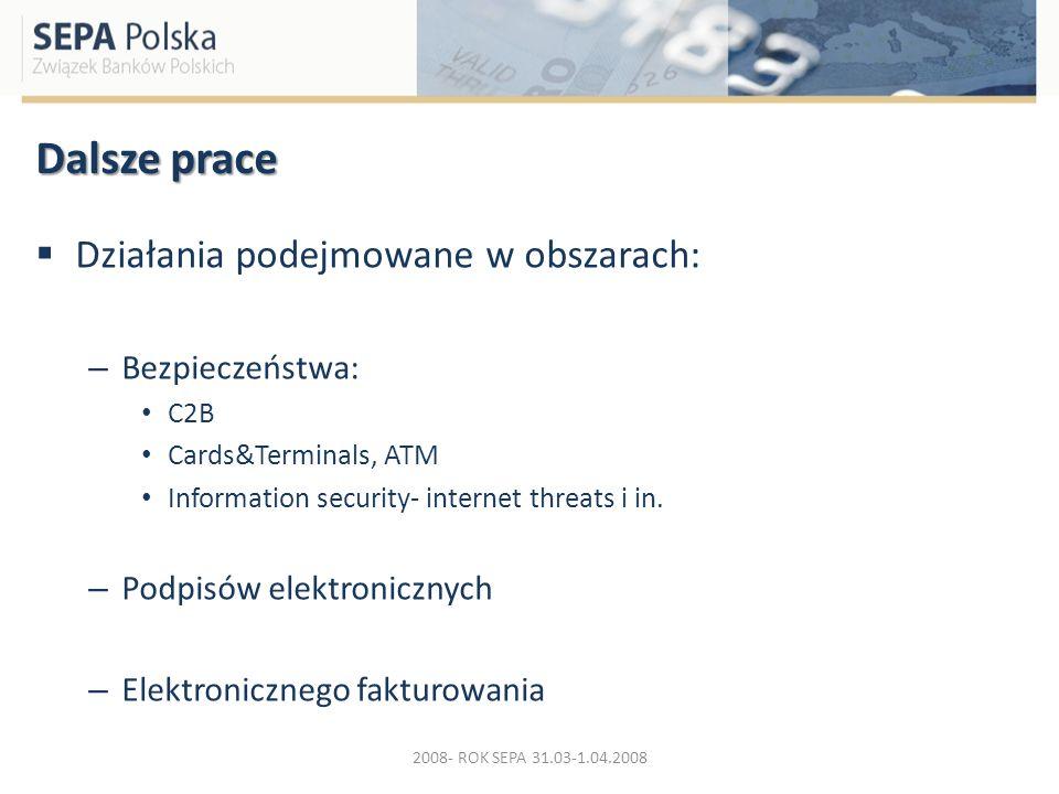 Dalsze prace Działania podejmowane w obszarach: – Bezpieczeństwa: C2B Cards&Terminals, ATM Information security- internet threats i in. – Podpisów ele