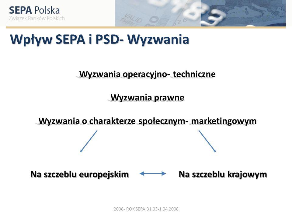 Wpływ SEPA i PSD- Wyzwania Wyzwania operacyjno- techniczne Wyzwania prawne Wyzwania o charakterze społecznym- marketingowym Na szczeblu europejskim Na