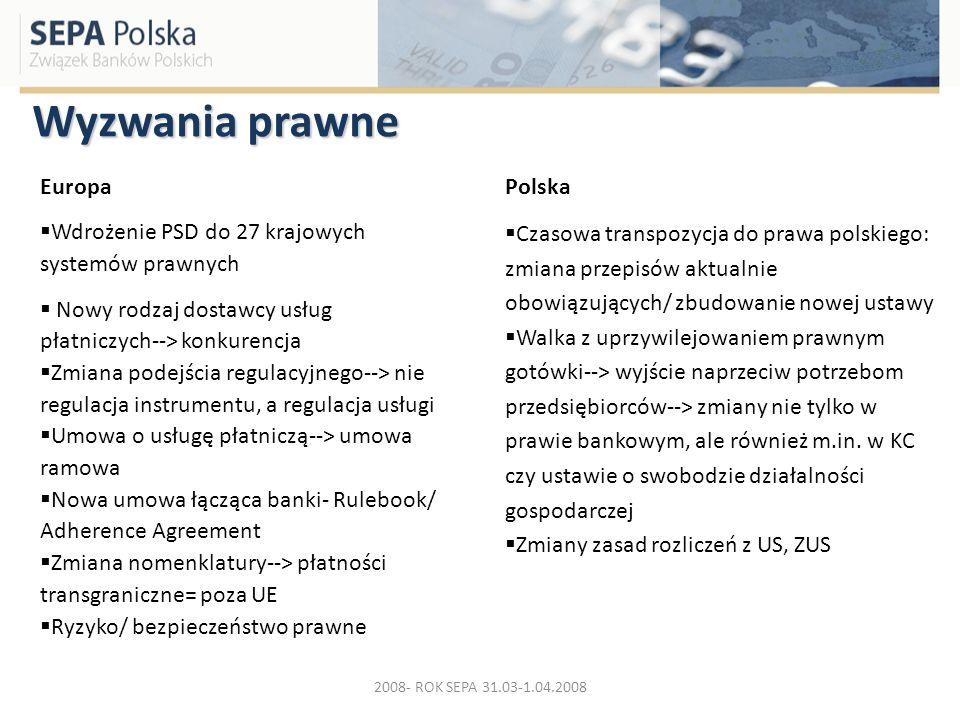 Wyzwania prawne Europa Wdrożenie PSD do 27 krajowych systemów prawnych Nowy rodzaj dostawcy usług płatniczych--> konkurencja Zmiana podejścia regulacy