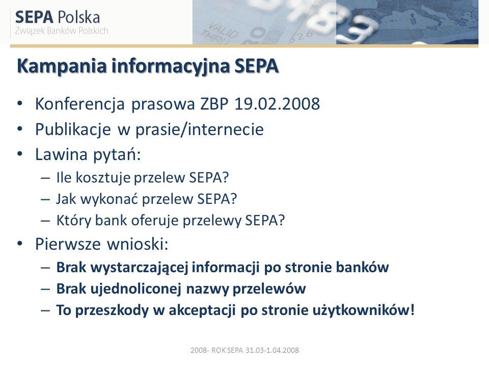 Kampania informacyjna SEPA Konferencja prasowa ZBP 19.02.2008 Publikacje w prasie/internecie Lawina pytań: – Ile kosztuje przelew SEPA? – Jak wykonać