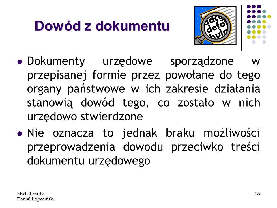 Michał Rudy Daniel Łopaciński 102 Dokumenty urzędowe sporządzone w przepisanej formie przez powołane do tego organy państwowe w ich zakresie działania