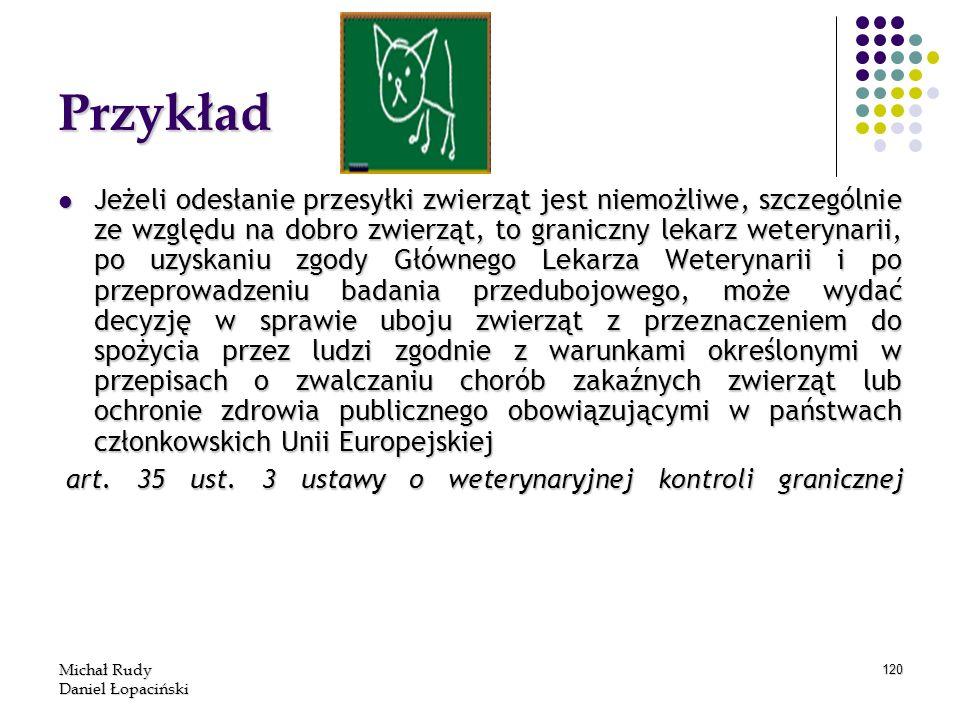 Michał Rudy Daniel Łopaciński 120 Przykład Jeżeli odesłanie przesyłki zwierząt jest niemożliwe, szczególnie ze względu na dobro zwierząt, to graniczny