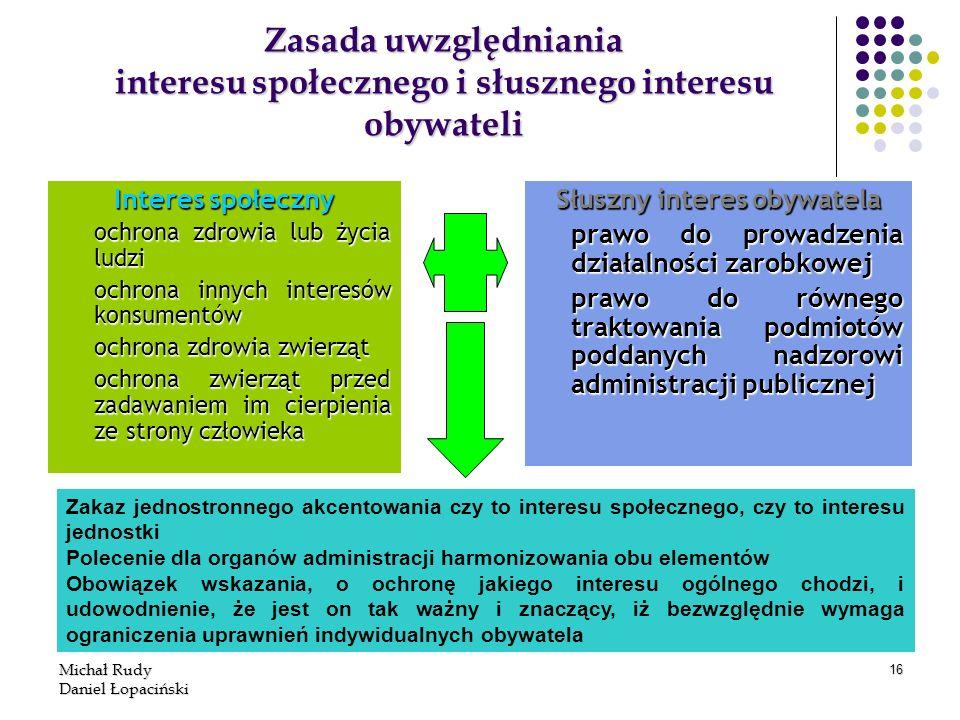 Michał Rudy Daniel Łopaciński 16 Zasada uwzględniania interesu społecznego i słusznego interesu obywateli Interes społeczny ochrona zdrowia lub życia