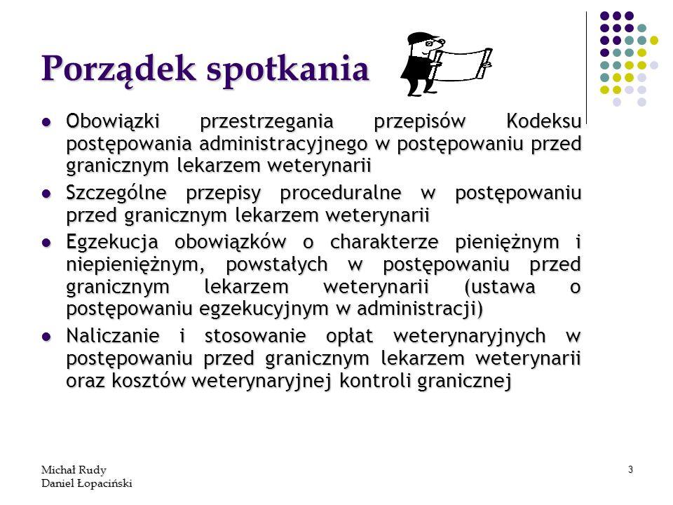 Michał Rudy Daniel Łopaciński 3 Porządek spotkania Obowiązki przestrzegania przepisów Kodeksu postępowania administracyjnego w postępowaniu przed gran