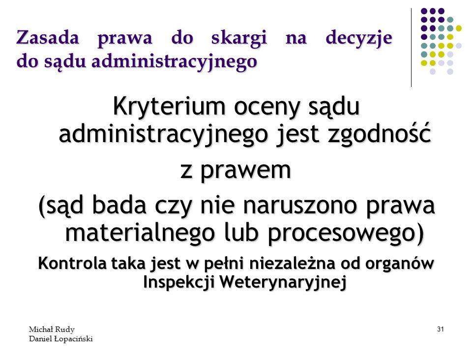 Michał Rudy Daniel Łopaciński 31 Zasada prawa do skargi na decyzje do sądu administracyjnego Kryterium oceny sądu administracyjnego jest zgodność z pr