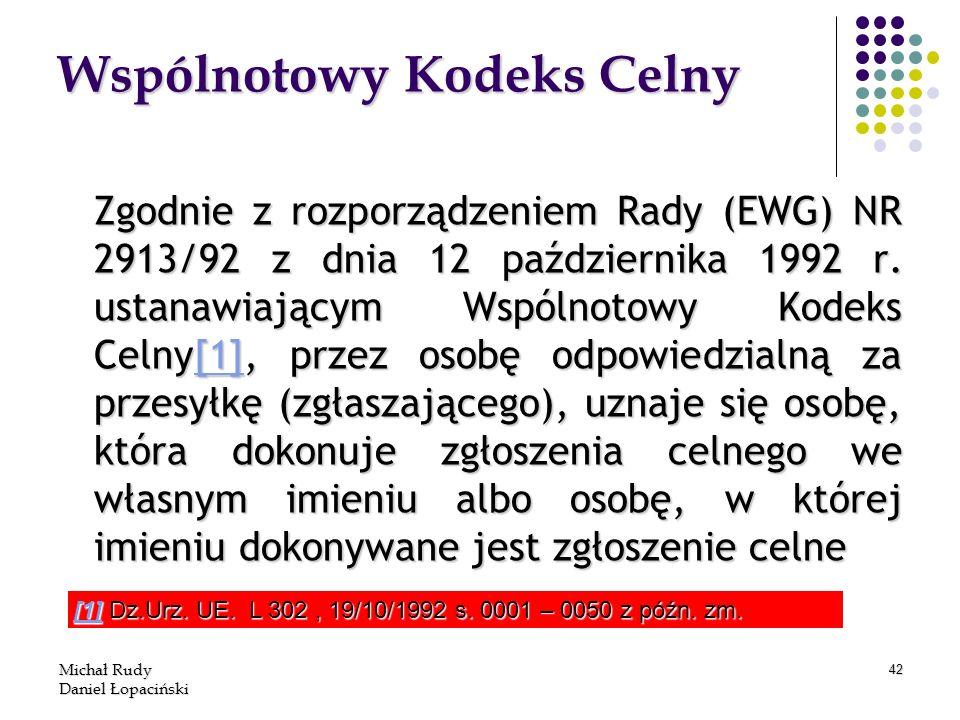 Michał Rudy Daniel Łopaciński 42 Wspólnotowy Kodeks Celny Zgodnie z rozporządzeniem Rady (EWG) NR 2913/92 z dnia 12 października 1992 r. ustanawiający