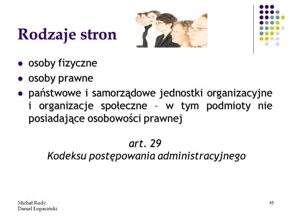 Michał Rudy Daniel Łopaciński 45 Rodzaje stron osoby fizyczne osoby fizyczne osoby prawne osoby prawne państwowe i samorządowe jednostki organizacyjne