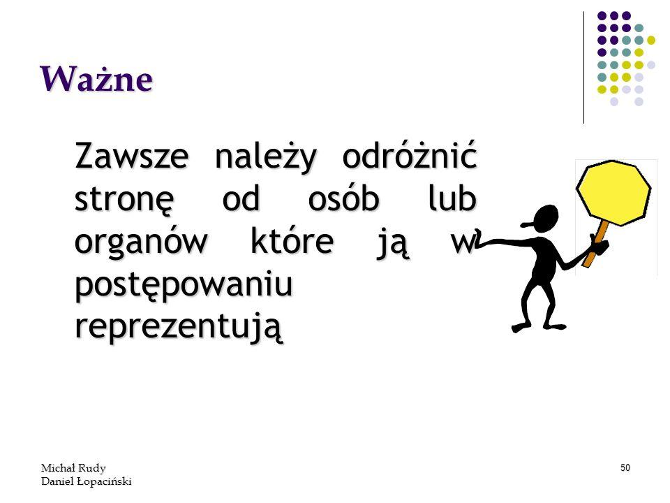 Michał Rudy Daniel Łopaciński 50 Ważne Zawsze należy odróżnić stronę od osób lub organów które ją w postępowaniu reprezentują
