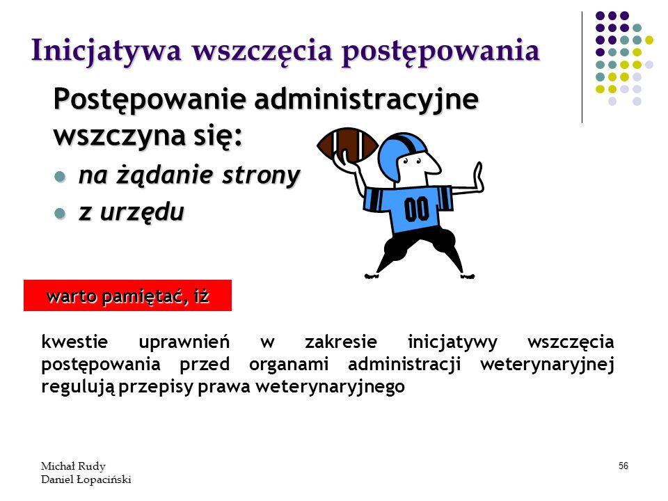 Michał Rudy Daniel Łopaciński 56 Inicjatywa wszczęcia postępowania Postępowanie administracyjne wszczyna się: na żądanie strony na żądanie strony z ur