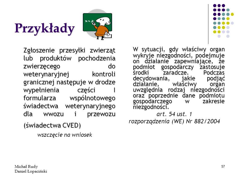 Michał Rudy Daniel Łopaciński 57 Przykłady Zgłoszenie przesyłki zwierząt lub produktów pochodzenia zwierzęcego do weterynaryjnej kontroli granicznej n