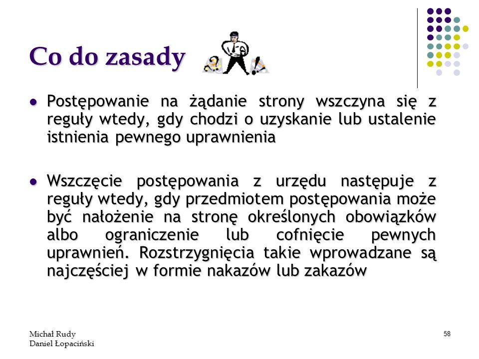 Michał Rudy Daniel Łopaciński 58 Co do zasady Postępowanie na żądanie strony wszczyna się z reguły wtedy, gdy chodzi o uzyskanie lub ustalenie istnien