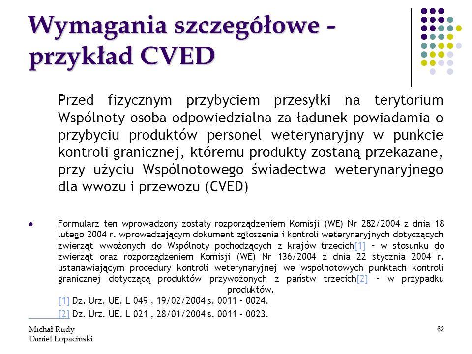 Michał Rudy Daniel Łopaciński 62 Wymagania szczegółowe - przykład CVED Przed fizycznym przybyciem przesyłki na terytorium Wspólnoty osoba odpowiedzial