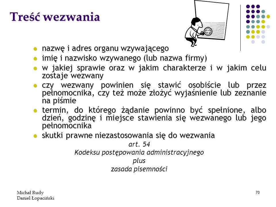Michał Rudy Daniel Łopaciński 70 Treść wezwania nazwę i adres organu wzywającego nazwę i adres organu wzywającego imię i nazwisko wzywanego (lub nazwa