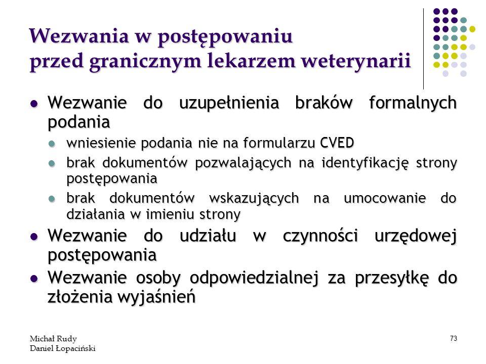 Michał Rudy Daniel Łopaciński 73 Wezwania w postępowaniu przed granicznym lekarzem weterynarii Wezwanie do uzupełnienia braków formalnych podania Wezw