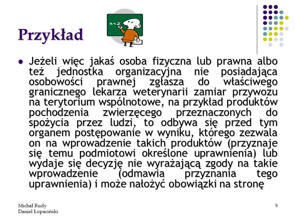 Michał Rudy Daniel Łopaciński 9 Przykład Jeżeli więc jakaś osoba fizyczna lub prawna albo też jednostka organizacyjna nie posiadająca osobowości prawn