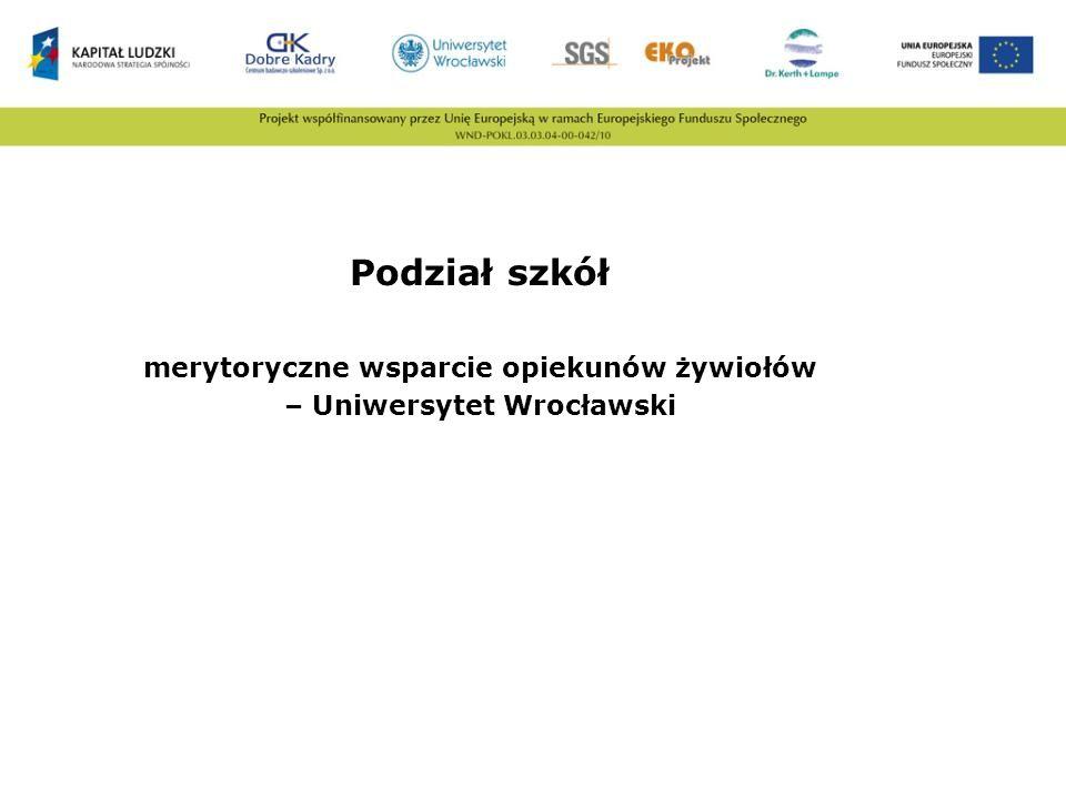Podział szkół merytoryczne wsparcie opiekunów żywiołów – Uniwersytet Wrocławski