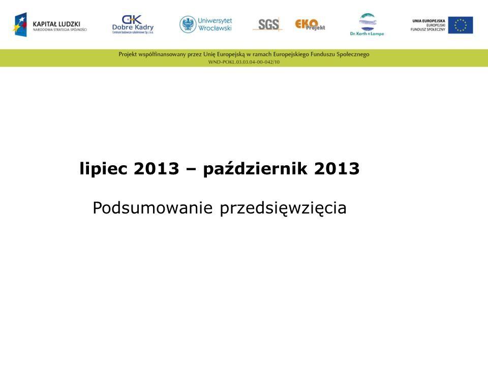 lipiec 2013 – październik 2013 Podsumowanie przedsięwzięcia