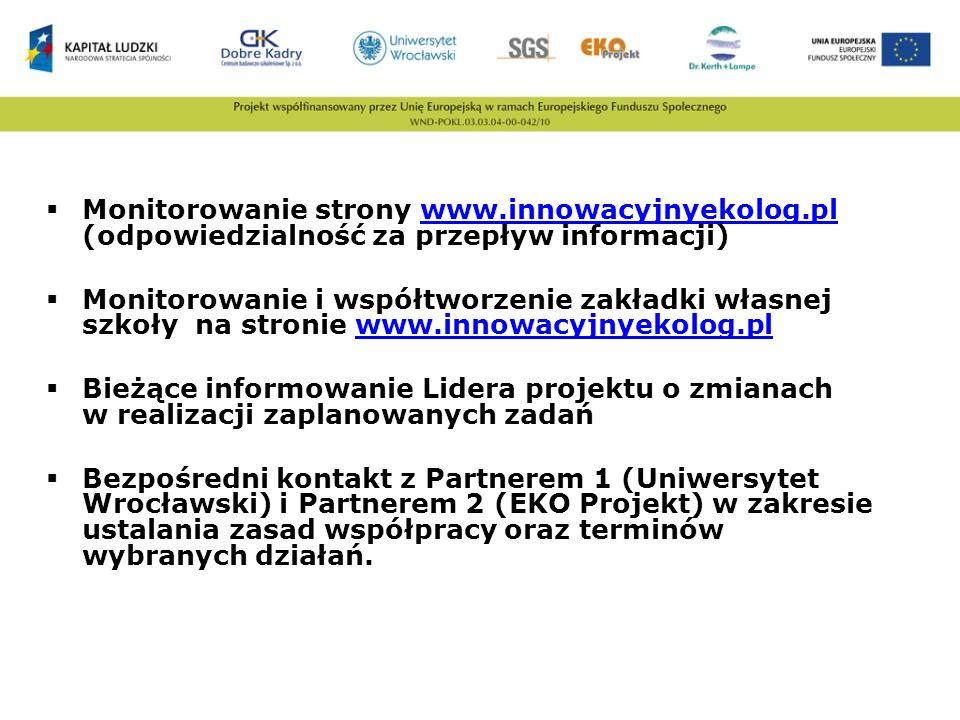 Monitorowanie strony www.innowacyjnyekolog.pl (odpowiedzialność za przepływ informacji)www.innowacyjnyekolog.pl Monitorowanie i współtworzenie zakładk