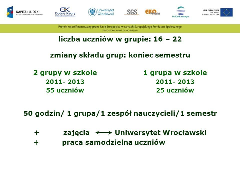 liczba uczniów w grupie: 16 – 22 zmiany składu grup: koniec semestru 2 grupy w szkole 2011- 2013 55 uczniów 1 grupa w szkole 2011- 2013 25 uczniów 50