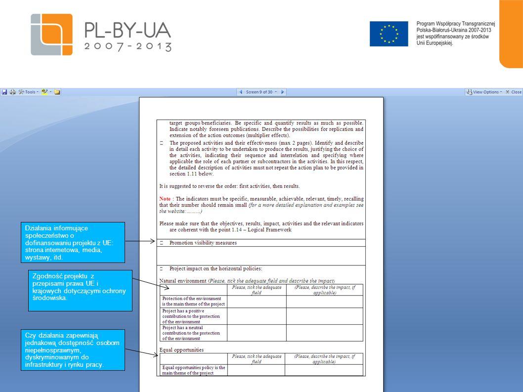 10 Działania informujące społeczeństwo o dofinansowaniu projektu z UE: strona internetowa, media, wystawy, itd. Zgodność projektu z przepisami prawa U