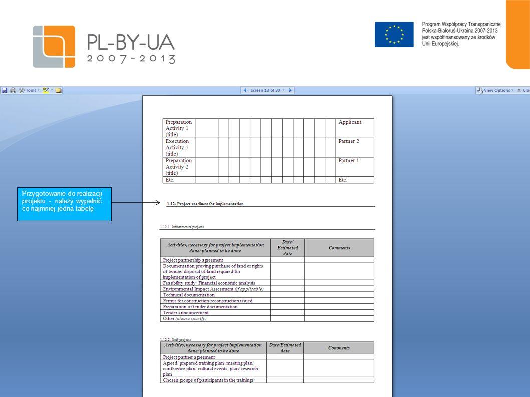 14 Przygotowanie do realizacji projektu - należy wypełnić co najmniej jedna tabelę