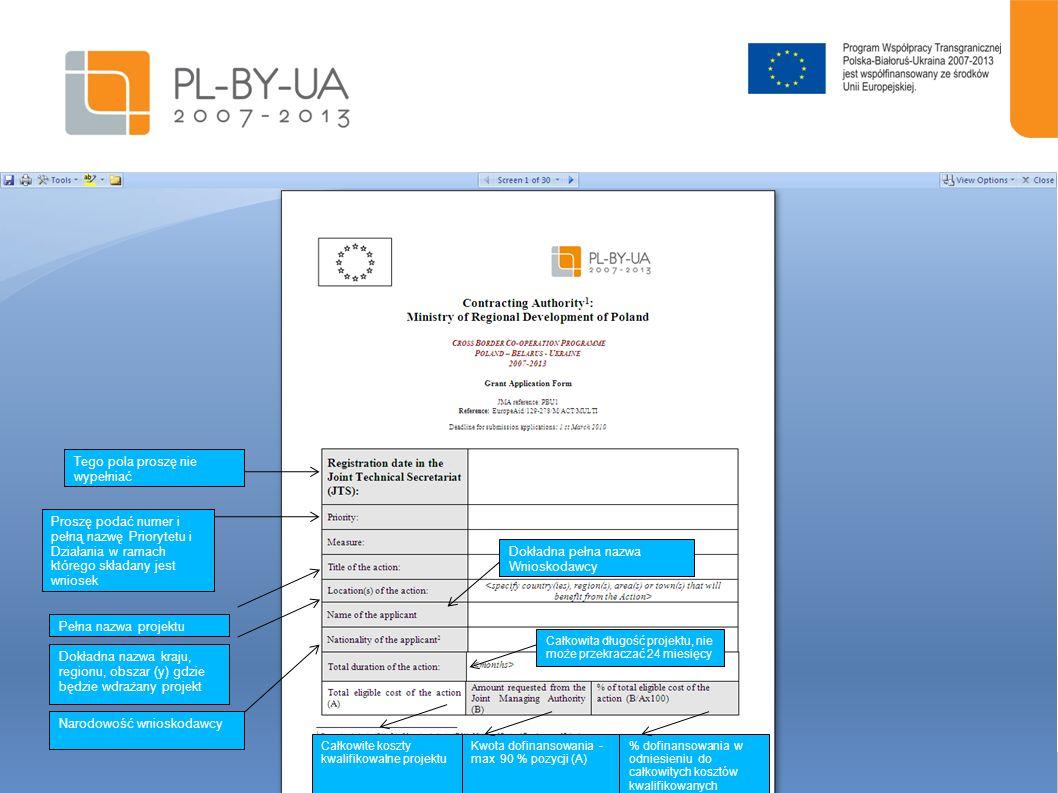 13 Należy określić czas wdrażania projektu w pełnych miesiącach (nie dłuższy niż 24) + plan działania Schemat planu działania