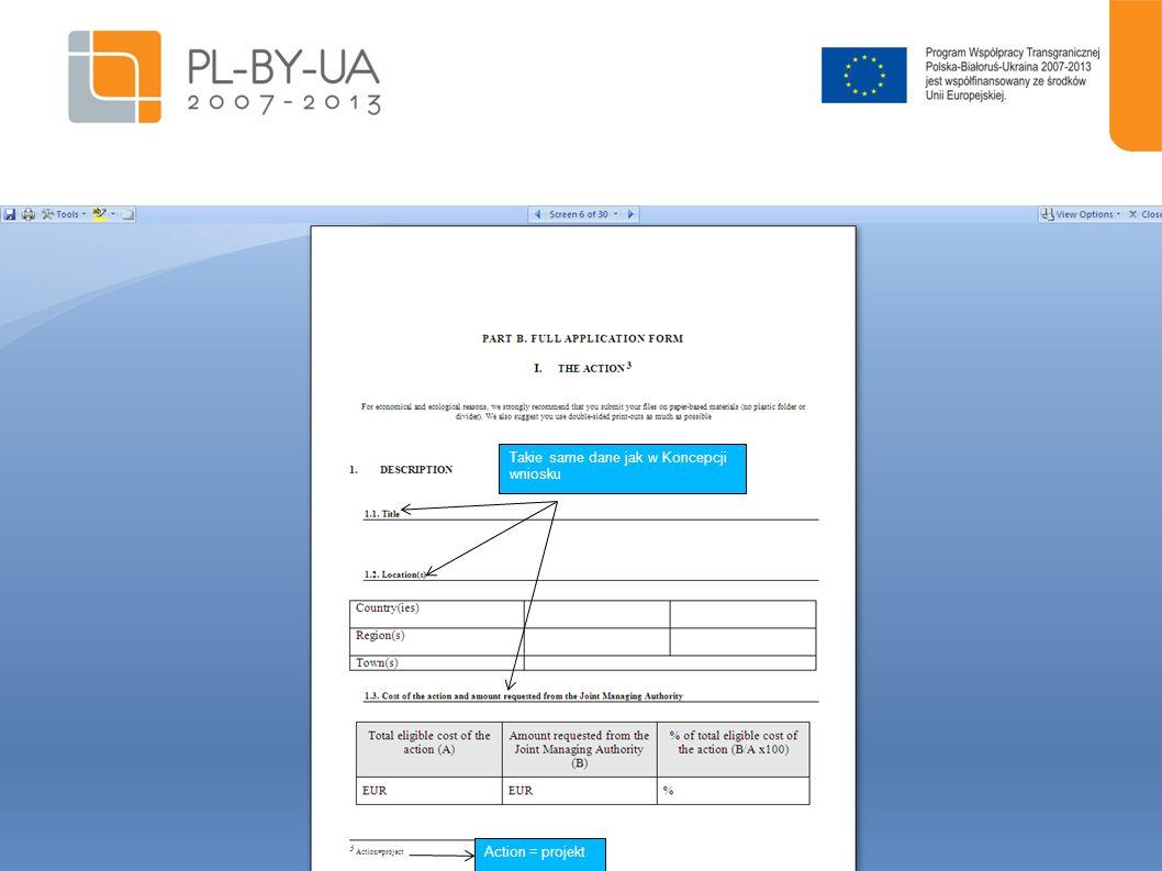 18 Polscy partnerzy – NIP i REGON Partnerzy z Białorusi i Ukrainy: podatkowy numer rejestracyjny i numer rejestracyjny nadany przez Departament Statystyczny Dane osoby odpowiedzialnej za wdrażanie projektu.