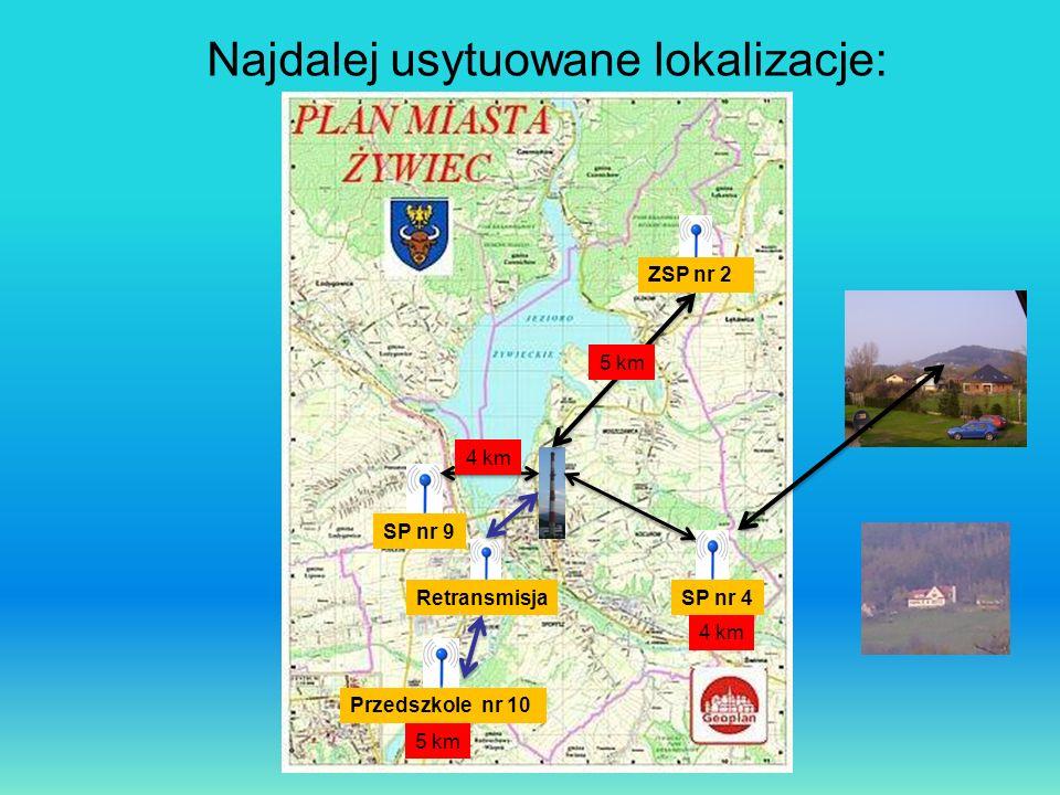 Najdalej usytuowane lokalizacje: ZSP nr 2 Przedszkole nr 10 SP nr 9 SP nr 4Retransmisja 5 km 4 km