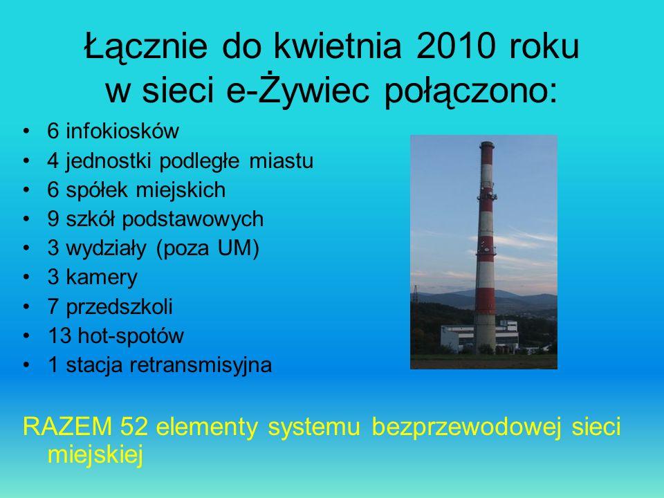 Łącznie do kwietnia 2010 roku w sieci e-Żywiec połączono: 6 infokiosków 4 jednostki podległe miastu 6 spółek miejskich 9 szkół podstawowych 3 wydziały