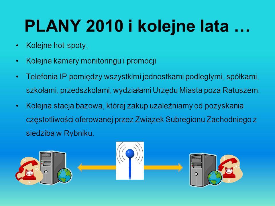 PLANY 2010 i kolejne lata … Kolejne hot-spoty, Kolejne kamery monitoringu i promocji Telefonia IP pomiędzy wszystkimi jednostkami podległymi, spółkami