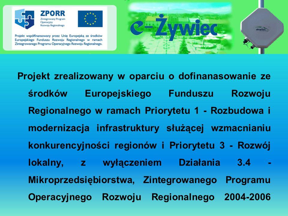 Projekt zrealizowany w oparciu o dofinanasowanie ze środków Europejskiego Funduszu Rozwoju Regionalnego w ramach Priorytetu 1 - Rozbudowa i modernizac