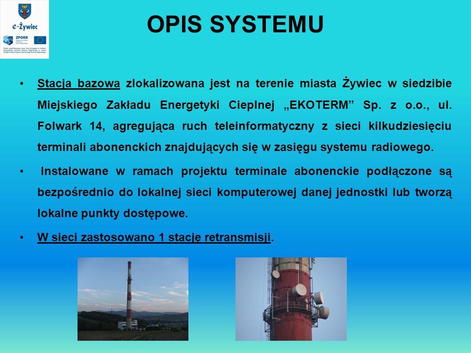 OPIS SYSTEMU Stacja bazowa zlokalizowana jest na terenie miasta Żywiec w siedzibie Miejskiego Zakładu Energetyki Cieplnej EKOTERM Sp. z o.o., ul. Folw