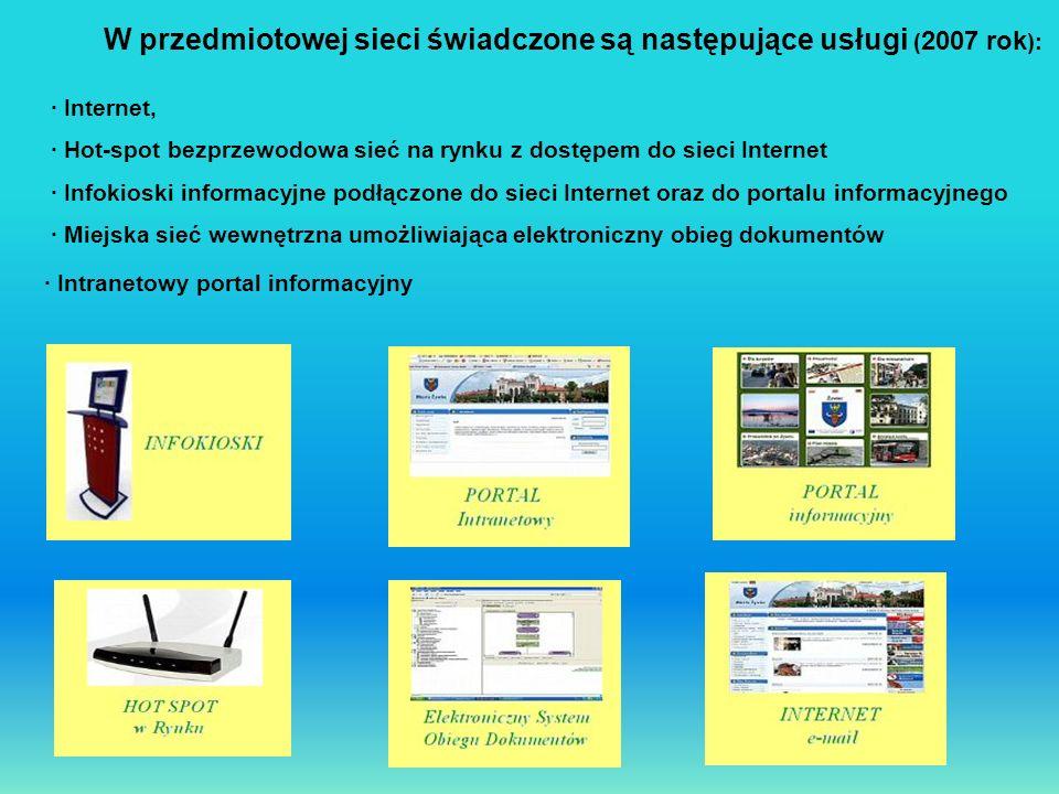 W przedmiotowej sieci świadczone są następujące usługi ( 2007 rok ): · Internet, · Hot-spot bezprzewodowa sieć na rynku z dostępem do sieci Internet ·