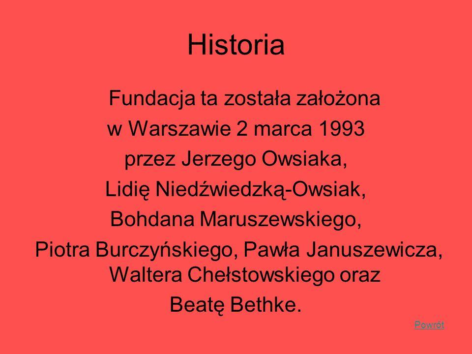 Historia Fundacja ta została założona w Warszawie 2 marca 1993 przez Jerzego Owsiaka, Lidię Niedźwiedzką-Owsiak, Bohdana Maruszewskiego, Piotra Burczy