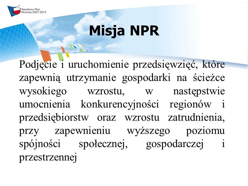 Misja NPR Podjęcie i uruchomienie przedsięwzięć, które zapewnią utrzymanie gospodarki na ścieżce wysokiego wzrostu, w następstwie umocnienia konkurencyjności regionów i przedsiębiorstw oraz wzrostu zatrudnienia, przy zapewnieniu wyższego poziomu spójności społecznej, gospodarczej i przestrzennej