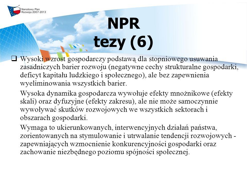 NPR tezy (6) Wysoki wzrost gospodarczy podstawą dla stopniowego usuwania zasadniczych barier rozwoju (negatywne cechy strukturalne gospodarki, deficyt kapitału ludzkiego i społecznego), ale bez zapewnienia wyeliminowania wszystkich barier.