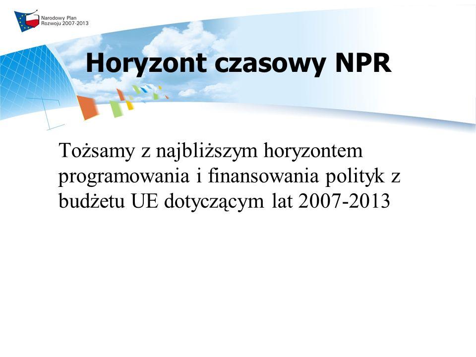 Horyzont czasowy NPR Tożsamy z najbliższym horyzontem programowania i finansowania polityk z budżetu UE dotyczącym lat 2007-2013