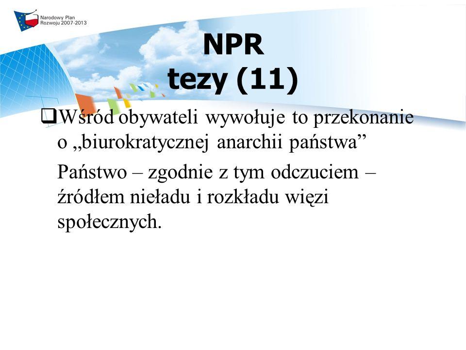 NPR tezy (11) Wśród obywateli wywołuje to przekonanie o biurokratycznej anarchii państwa Państwo – zgodnie z tym odczuciem – źródłem nieładu i rozkładu więzi społecznych.