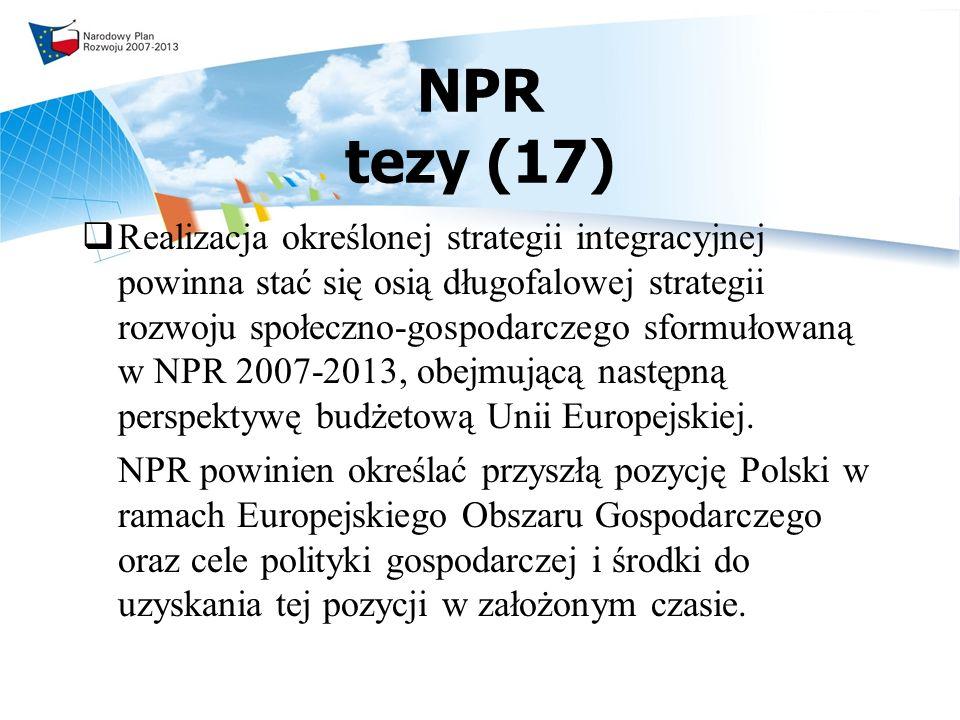 NPR tezy (17) Realizacja określonej strategii integracyjnej powinna stać się osią długofalowej strategii rozwoju społeczno-gospodarczego sformułowaną w NPR 2007-2013, obejmującą następną perspektywę budżetową Unii Europejskiej.