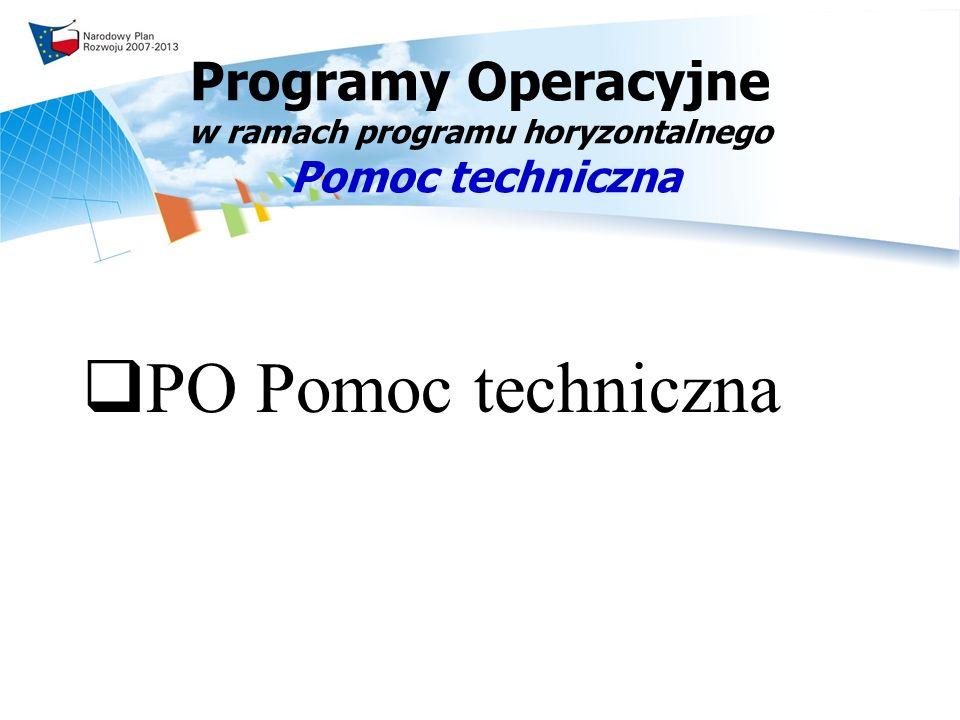 Programy Operacyjne w ramach programu horyzontalnego Pomoc techniczna PO Pomoc techniczna