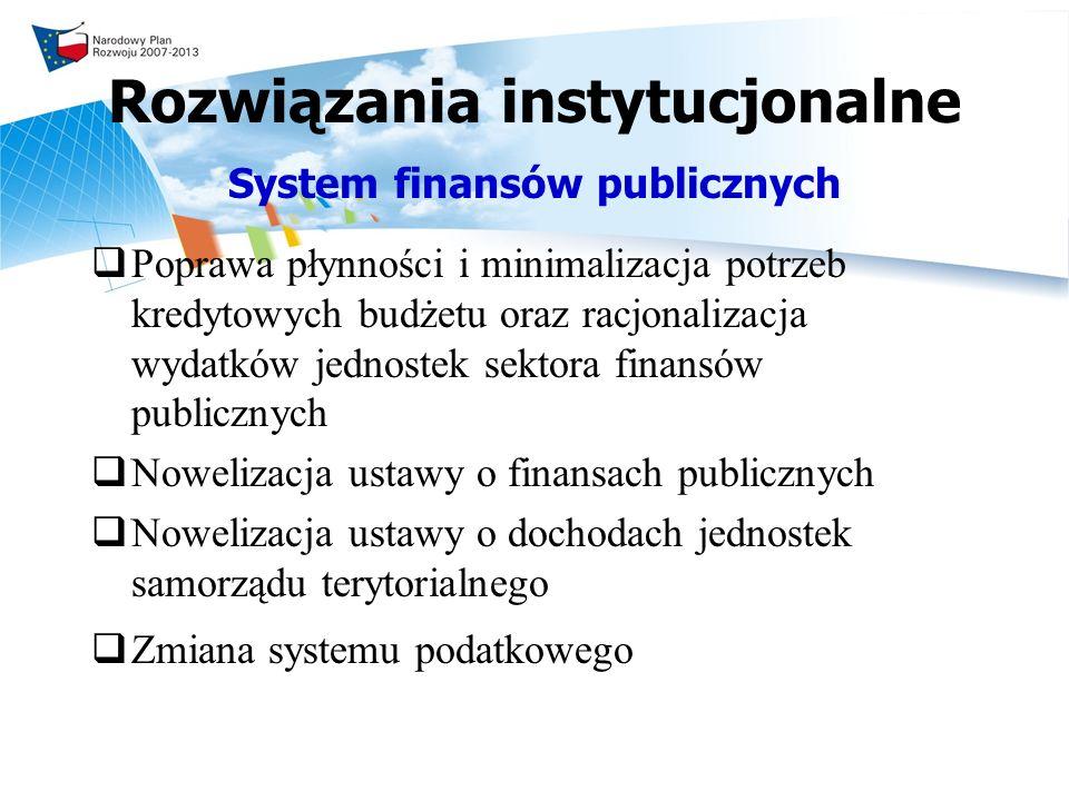 Rozwiązania instytucjonalne System finansów publicznych Poprawa płynności i minimalizacja potrzeb kredytowych budżetu oraz racjonalizacja wydatków jednostek sektora finansów publicznych Nowelizacja ustawy o finansach publicznych Nowelizacja ustawy o dochodach jednostek samorządu terytorialnego Zmiana systemu podatkowego