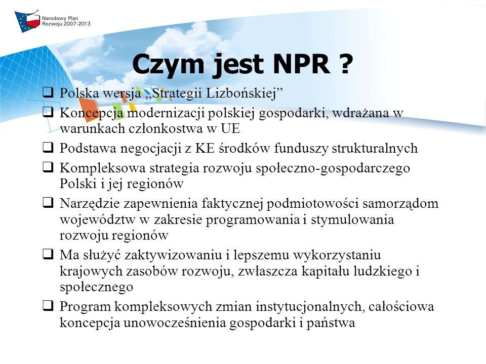 Struktura treści NPR Tło społeczno-gospodarcze tworzenia NPR Podstawy aksjologiczne, misja, cele i obszary priorytetowe Przedsięwzięcia i działania służące realizacji celów i priorytetów strategicznych System realizacyjny Instrumenty finansowe Program zmian instytucjonalnych warunkujących realizację NPR Monitoring i ewaluacja NPR Stanowisko Polski wobec unijnej polityki spójności