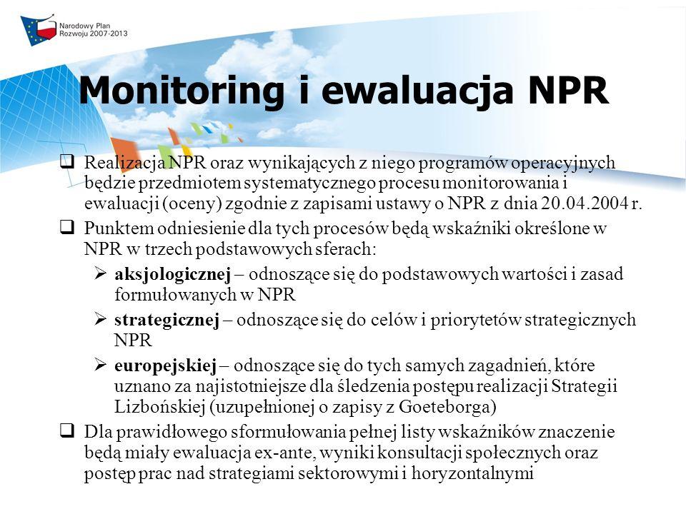 Monitoring i ewaluacja NPR Realizacja NPR oraz wynikających z niego programów operacyjnych będzie przedmiotem systematycznego procesu monitorowania i ewaluacji (oceny) zgodnie z zapisami ustawy o NPR z dnia 20.04.2004 r.