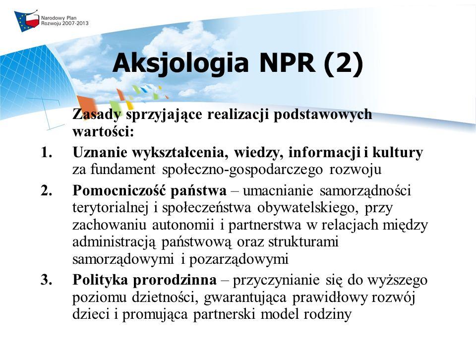 Aksjologia NPR (3) 4.Ochrona rynku i konkurencji 5.Zapewnienie równego dostępu do sądu i ochrony konstytucyjnych praw 6.Dialog obywatelski i partnerstwo społeczne 7.Kształtowanie partnerskich relacji Polski z państwami demokratycznymi oraz jej uczestnictwa w globalnej polityce i gospodarce