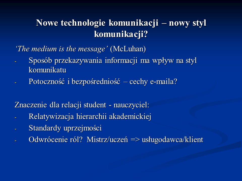 Nowe technologie komunikacji – nowy styl komunikacji? The medium is the message (McLuhan) - Sposób przekazywania informacji ma wpływ na styl komunikat