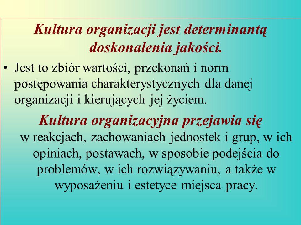 Kultura organizacji jest determinantą doskonalenia jakości. Jest to zbiór wartości, przekonań i norm postępowania charakterystycznych dla danej organi