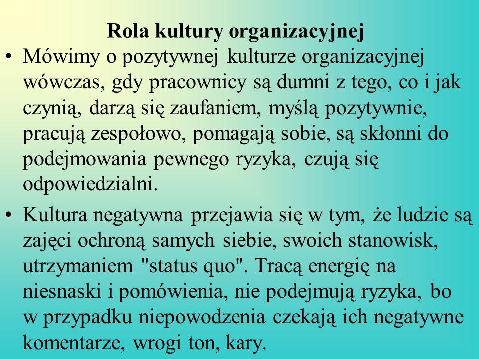 Rola kultury organizacyjnej Kierownicy przez swoje postępowanie i zachowanie ustanawiają normy, które przenikają w głąb organizacji.